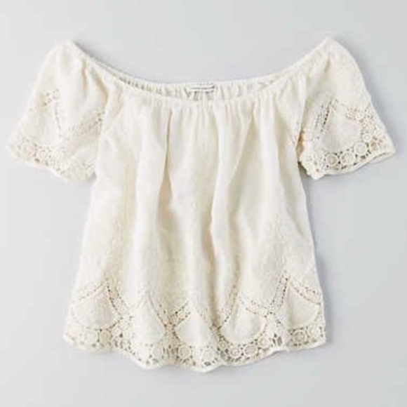 d8ae61e98fd73 American Eagle Outfitters Tops - Cream embroidered eyelet off the shoulder  blouse